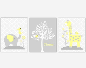 Baby Nursery Art Prints Yellow Elephant Giraffe Birds Tree Safar Jungle Baby Nursery Decor Nursery Prints New Baby Boy Girl Shower Gift