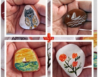 Handpainted Sea Pottery Magnets Set of 4