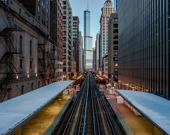 Cityward - Chicago - Cityscape - Street Photography - Fine Art - Elevated Train - Train Tracks - Chicago L - Trump Tower - Chicago Skyline