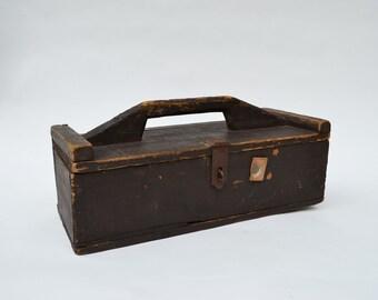 Vintage Wood Tool Box Brown Paint Rough Sawn Wood Handle Box Primitive Tool Box Wooden Handled Tool Storage Box