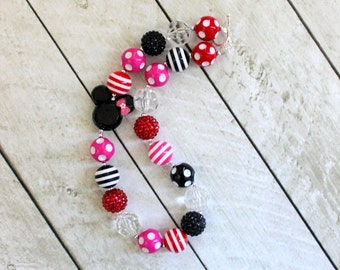 minnie mouse chunky necklace disney red pink black disney girl bubblegum necklace girls chunky bubble gum bead necklace birthday chunky bead