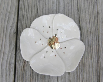 Cherry Blossom Flower,White,Gold,Ring Dish,Keepsake Bowl,Engagement Ring dish,Trinket Bowl,Birthday Gift for her,Tea bag rest,Gift for her