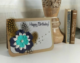 Happy Birthday card with handcrafted flower and feathers