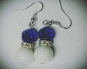 "Sweet Nothings- ""Royal Dove"" Handmade white glass bead, royal blue stone drop earrings. Zeta Phi Beta inspired."