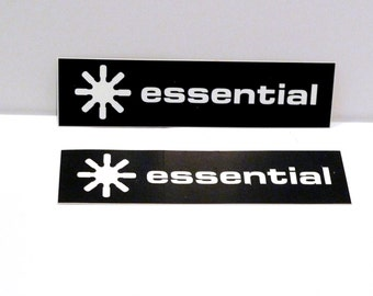 Essential Records Label Sticker Set (2) Vintage 1990s Logo Global Dance Music Brand DJ Compilation Black and White Mohawk Music Record Store