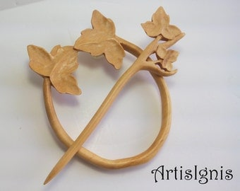 """Shawl Pin or Hair Slide """"Ivy"""", Handmade Alder Wood Shawl Pin, Handcarved Ivy Hair Accessories, Eco-friendly - MADE TO ORDER"""