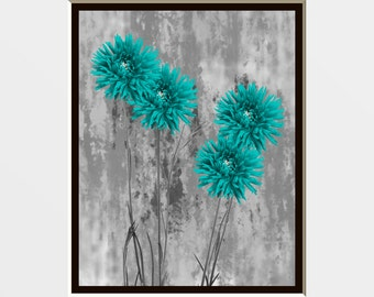 Teal Gray Bathroom/Bedroom Floral Theme Wall Art Photography Matted Picture