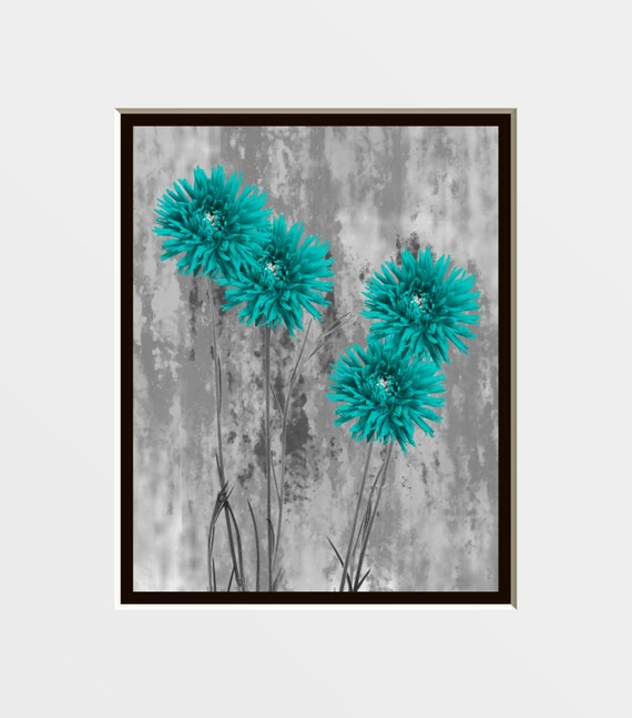 Teal Gray Bathroom Bedroom Floral Theme Wall By