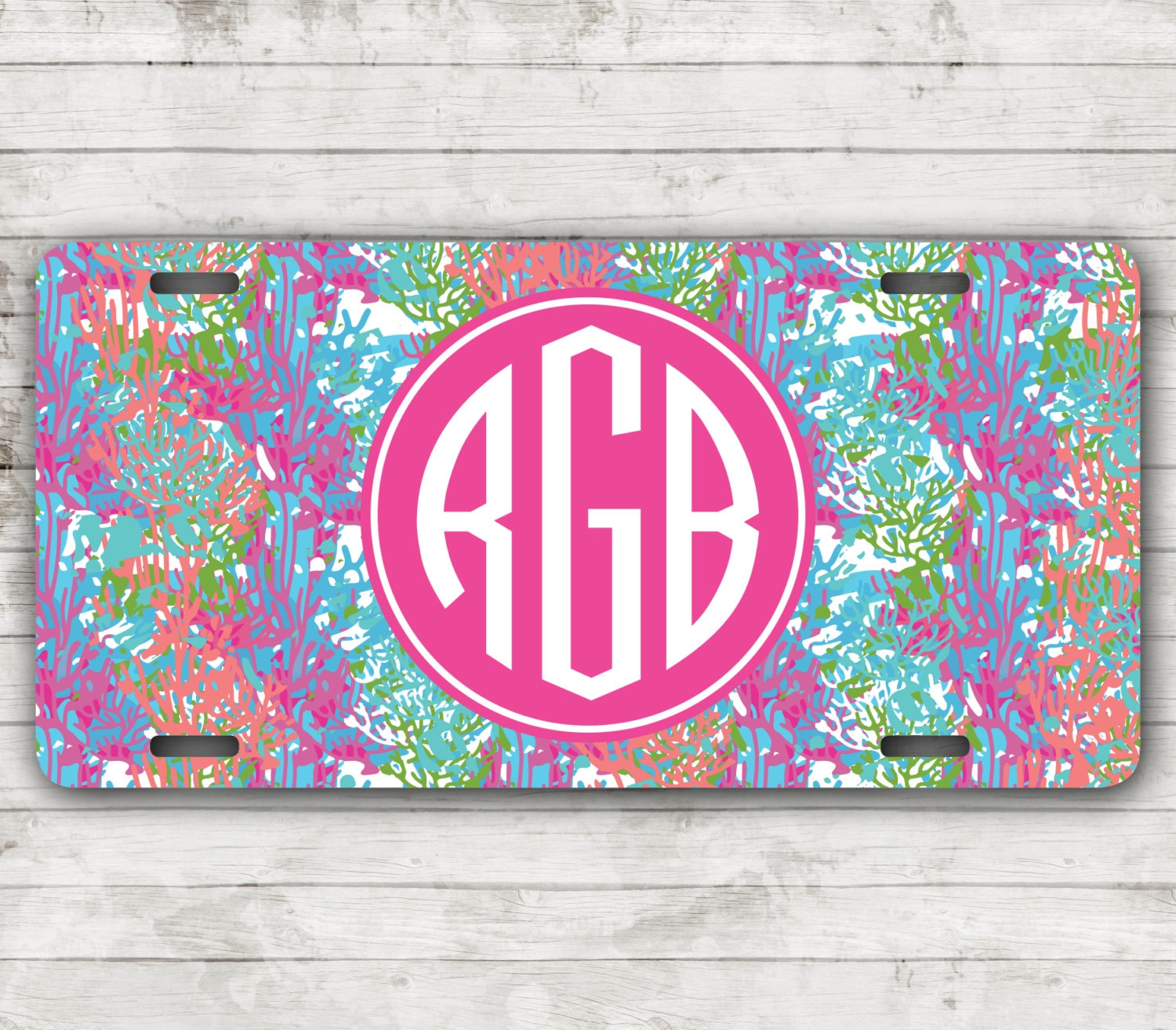 lilly inspired monogram car tag license plate frame
