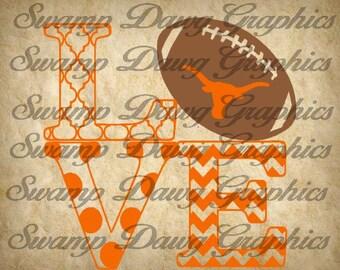 Football svg, longhorn svg, love football svg, silhouette, cricut, digital file, cut file, football cut file, longhorn cut file, vinyl, htv
