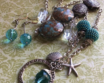 El Mar long necklace aqua long necklace summer necklace free shippin