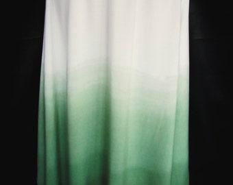 Hand Dyed Ombre Dip Dye Asymmetric Skirt in Muir Green