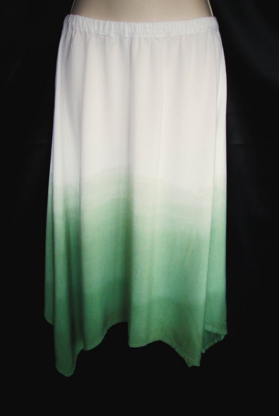 Hand Dyed Ombre Dip Dye Asymmetric Skirt in Muir Green