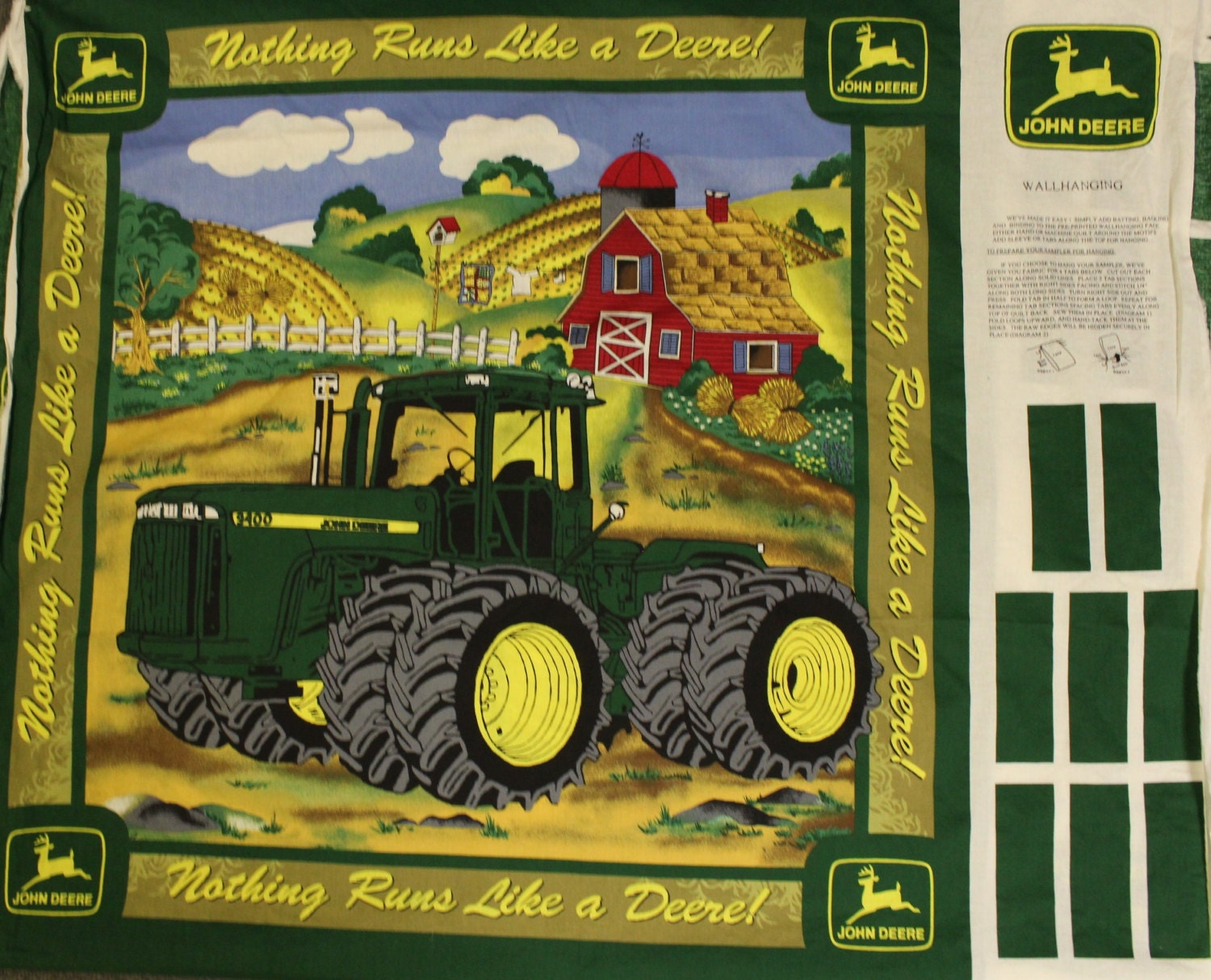 John Deere Wall Hanging Fabric Panel Diy John Deere Nothing