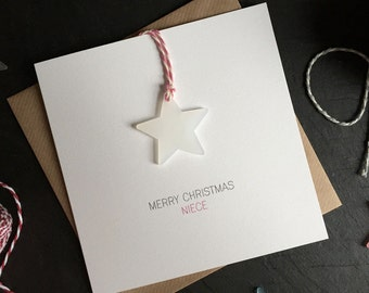 Merry Christmas Niece // Christmas Card with Frosted Perspex Star Tree Decoration