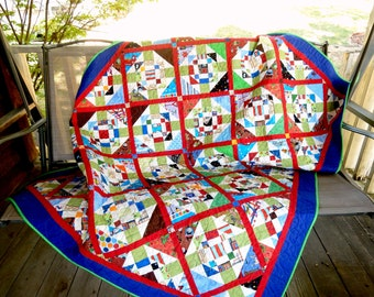 Bright Multi-Color Quilt Twin/Double for a Boy