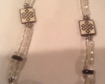 Hand made crystal and glass necklace