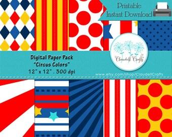 """Circus Colors Digital Paper Pack (10) - 12""""x12"""" 300 DPI"""