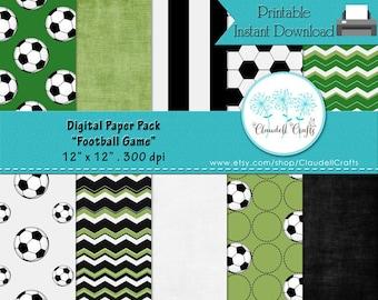 "Football Soccer Game Digital Paper Pack (10) - 12""x12"" 300 DPI"