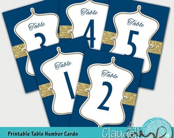 Wedding Table Numbers Cards Blue Navy & Gold - 300 DPI