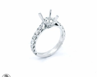 Semi Mount in Classic Design, Semi Mount Ring For Round Diamond, Diamond Engagement Semi-Mount, Round Diamond Engagement Ring,  | LDR02412