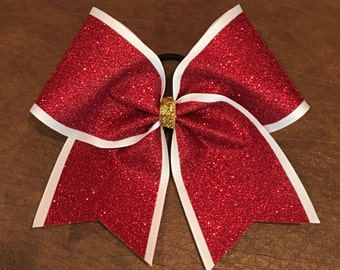 Cheer Bow - Red Glitter on White
