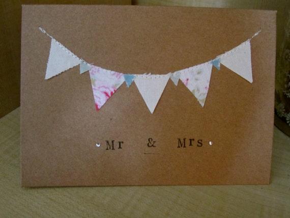Handmade Mr Amp Mrs Card Bunting Wedding Card By Vintagebysarahh