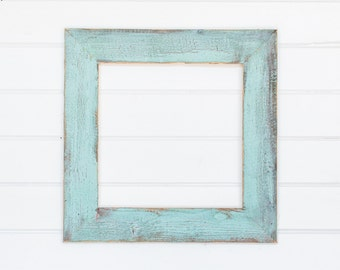 "16x16 4"" Painted Barnwood Frame- Blue, Green, Coral, White"