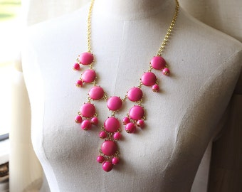 Small Fuchsia Pink Bubble Necklace Statement Necklace, Matte Gem Finish, Light Weight, Shiny Gold Tone
