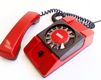 Original Rotary Telephone, Vintage Red Phone, Bratek, Made in Poland