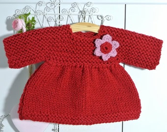 Knitted Dress, warm red, Waldorf Doll 16 inch