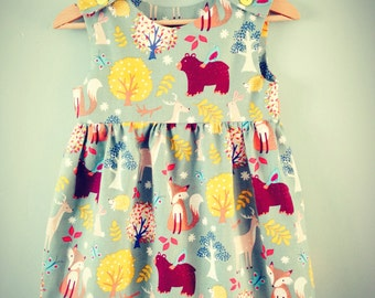 Little Girl's Handmade Dress in Woodland Print - 6-12 Months (approx)