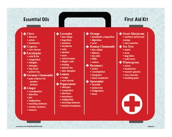 LAMINATED Essential Oils First Aid Kit Chart Guide Aromatherapy Healing Herbs Alternative Holistic Eastern Medicine