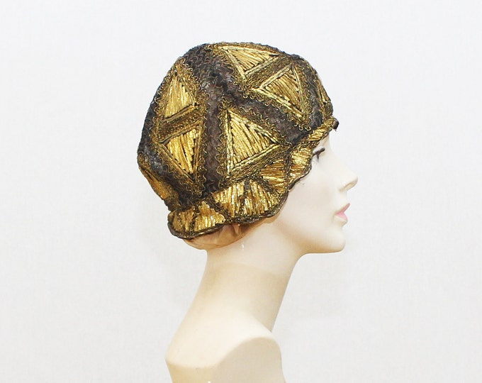1920s Gold and Black Cloche Flapper Hat - Vintage 1920s Flapper Girl Hat