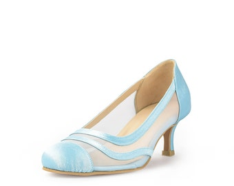 Forever Love Custom Made Heels, Pastel Blue Closed Toe Pumps, Something Blue Bridal Heels, Baby Blue Wedding Shoes