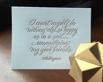 Friendship Letterpressed Calligraphic  Card