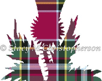 Scottish tartan Thistle cross stitch pattern