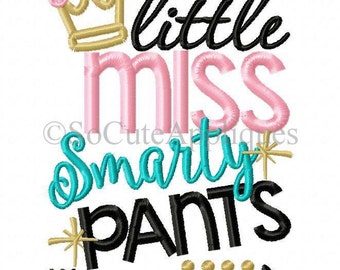 Little Miss... Smarty Pants!!! Embroidered Shirt/Onesie/Burp Cloth/Hand Towel!