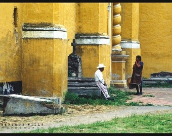Fine Art Print, Old Couple in the Courtyard , Minimalistic Decor, Street Photography, Color.
