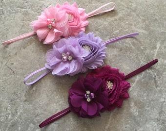 Shabby chic baby headband set,  3 headband set, Baby Bows, flower headband, baby headbands, baby girl headband, hair bows, baby shower gift