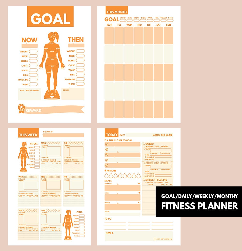 Fitness journal a5 filofax a5 insert fitness planner a5 for For planner