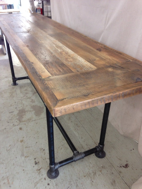 Reclaimed wood dining table industrial 8 ft x 2 ft , 36