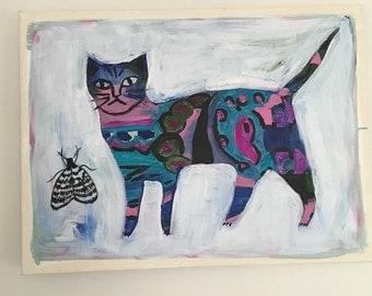 Original Acrylic Painting Cat and Moth