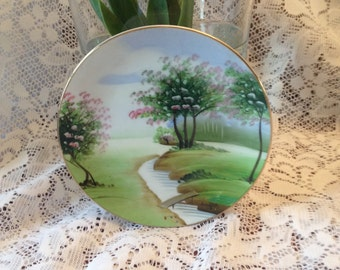 Free Shipping Made in Japan Oriental  Hand Painted Porcelain Decorative Wall Hanging Plate Cherry Blossom Trees River with Bridge Scene
