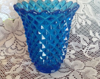 Beautiful Imperial Glass Co.Royal Blue  Saw- tooth Diamond Pattern Vase/Spooner