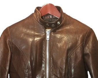 Schott Brown Leather Cafe Racer Jacket Women's Size 9, Vintage Cycle Rider Motorcycle Jacket