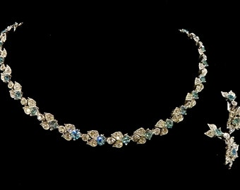 Vintage Bogoff  Aqua Blue and Clear Rhinestone Necklace and Earrings