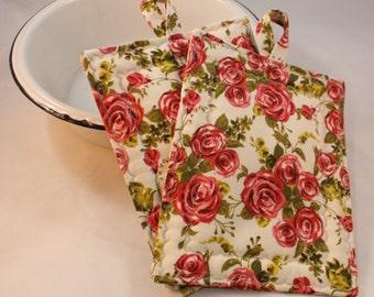 Pot Holders, Vintage, Shabby Chic Rose Flower Pattern Set of Pot Holders, 2 pc. Set, Oven Mitt, Trivet