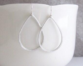 Delicate Hammered Teardrop Hoops, Teardrop Earrings, Silver Teardrop Earrings, Hoop Earrings, Silver or Gold - Sterling / 14k Gold Ear Wires
