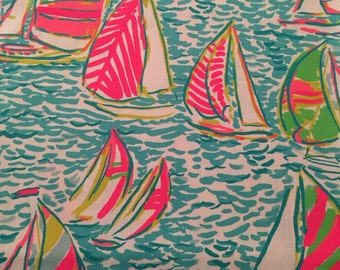 3 patches of Lilly Pulitzer You Gotta Regatta Fabric (new version, 2016, sailboats, ygr, ugr) - Perfect for Greek / Sorority Fabric Letters